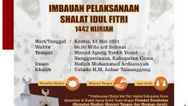 Besok, Sholat Id di Masjid Agung Syekh Yusuf dengan Protokol Kesehatan